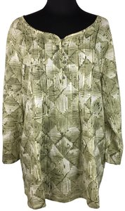 J. Jill Partial Button Front Cotton Abstract Pattern Casual Top Multicolor