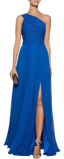 Halston Blue Ruched One Shoulder Gathered Gown with Beaded Sequin Appliqué Long Formal Dress Size 4 (S) Halston Blue Ruched One Shoulder Gathered Gown with Beaded Sequin Appliqué Long Formal Dress Size 4 (S) Image 1