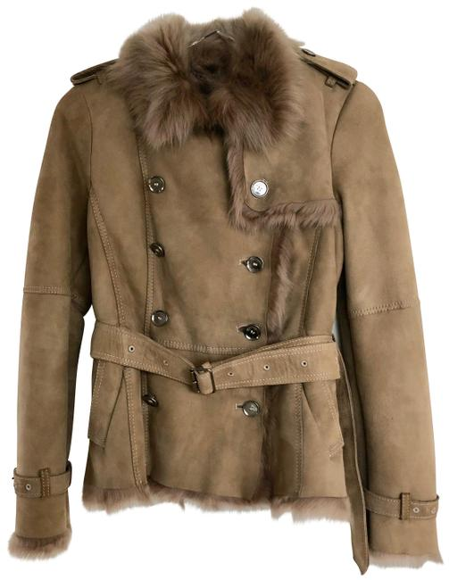 Item - Camel Hassendean Belted Lamb Shearling Jacket Size 6 (S)