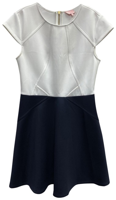 Ted Baker Navy/White White/Navy Color Block Poly Short Casual Dress Size 8 (M) Ted Baker Navy/White White/Navy Color Block Poly Short Casual Dress Size 8 (M) Image 1