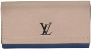 Louis Vuitton Two Tone Calfskin Leather Lockme II Flap Wallet