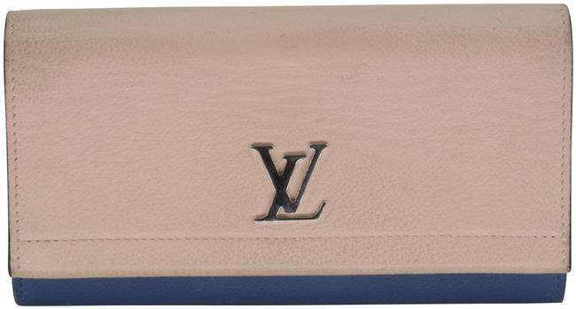 Louis Vuitton Beige Blue Silver-tone Lockme II Two Tone Calfskin Leather Flap Wallet Louis Vuitton Beige Blue Silver-tone Lockme II Two Tone Calfskin Leather Flap Wallet Image 1