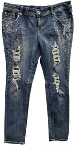 Grace in LA Embellished Straight Leg Jeans-Light Wash