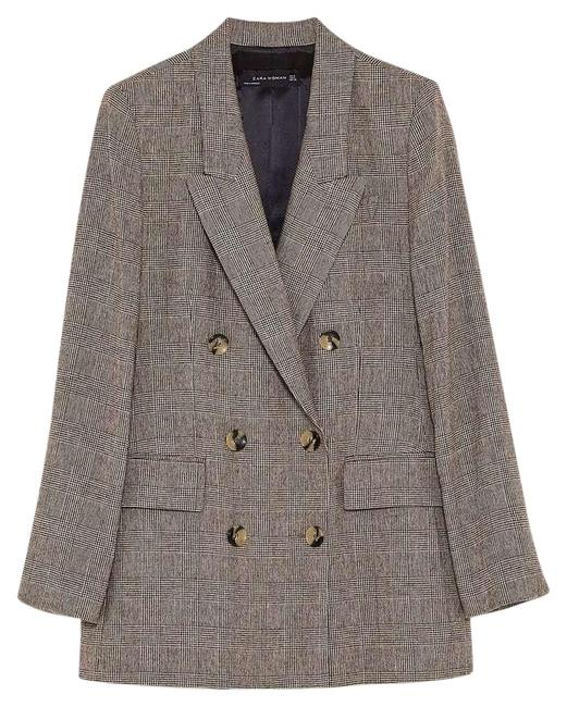 Item - Brown Checked Double-breasted Jacket Medium Ref. 7859/630 Blazer Size 10 (M)