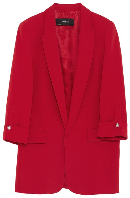 Item - Red Womens with Buttoned Sleeves Large Blazer Size 12 (L)