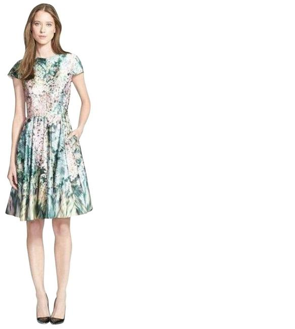 Item - Green Multi Dixie Glitch Floral Blossom Fit and Flare 2 Us Mid-length Work/Office Dress Size 6 (S)