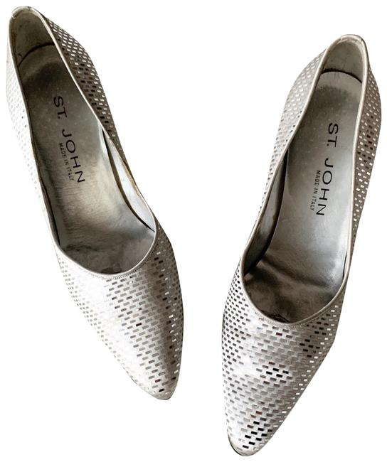 Item - Silver Satin Paillette Pump Italy Formal Shoes Size US 7 Regular (M, B)
