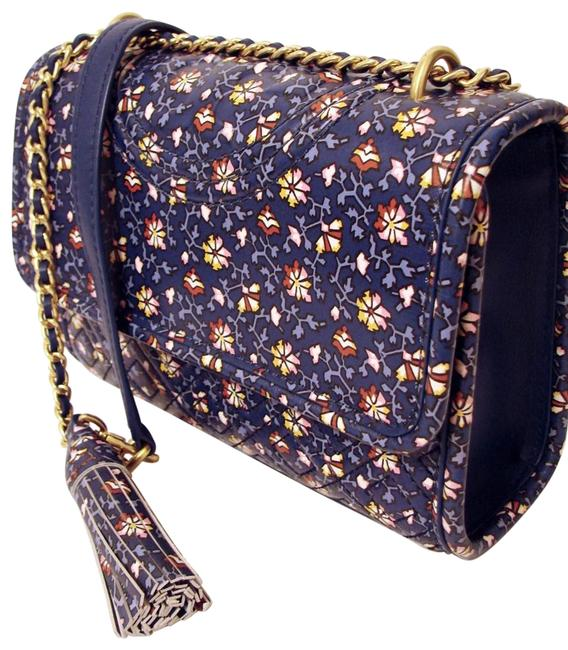 Item - Fleming Printed Convertible Blue Wild Pansy Leather Shoulder Bag
