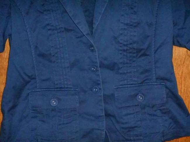 Coldwater Creek Nautical Fabric Buttons Sailor Fitted Top