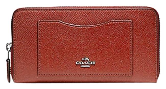Coach Red Accordion Zip In Crossgrain Leather F 54007 Terracotta Wallet Coach Red Accordion Zip In Crossgrain Leather F 54007 Terracotta Wallet Image 1