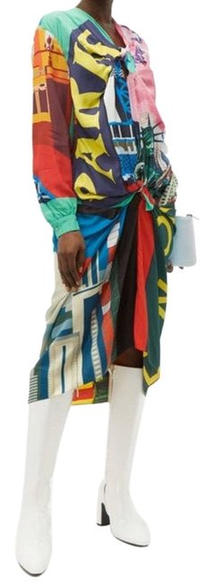 Item - Multicolor Knotted Scarf Night Out Dress Size 4 (S)