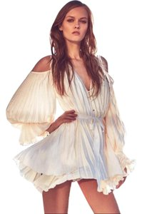 Alice McCall Accordion Pleated Cold Shoulder V Neck Dress