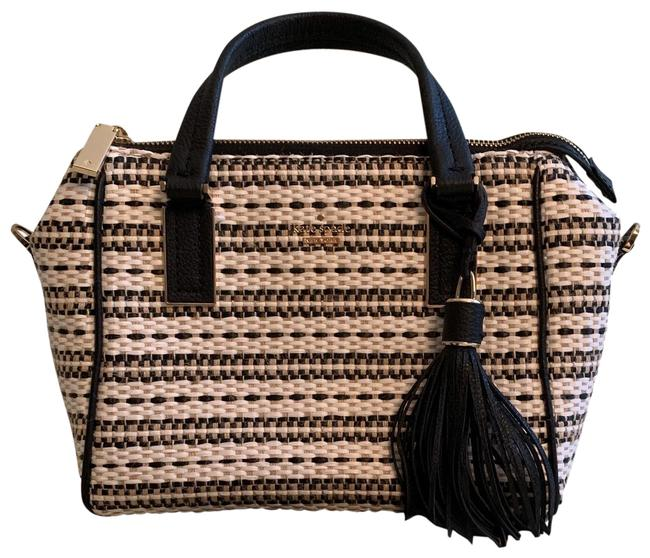 Item - Small Black and Bone with Gold Accents and Hardware. Leather Tweed Satchel