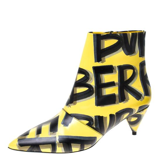 Burberry Leather Ankle Pointed Toe Yellow Boots Image 1