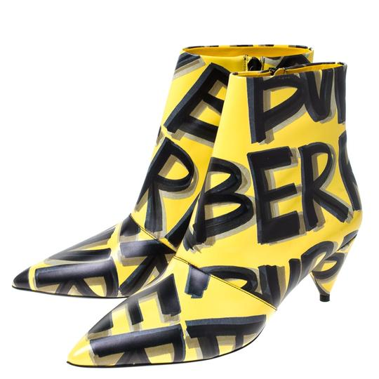Burberry Leather Ankle Pointed Toe Yellow Boots Image 5