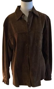 Vakko Dryclean Only Suede Silk Lining Button Down Shirt rust brown