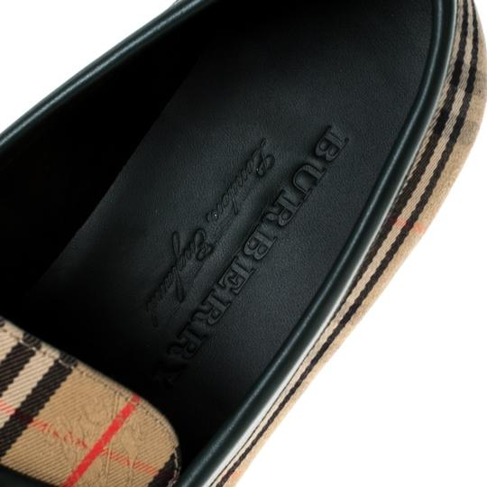 Burberry Leather Canvas Chain Detail Beige Flats Image 6