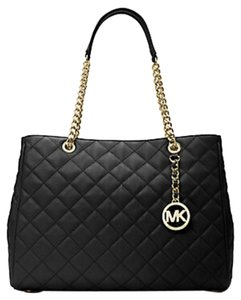 Michael Kors Lambskin Leather Mk Quilted Large Suzannah Tote in Black/GOLD CHAINED