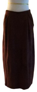 Vakko Professional Leather Dryclean Only Suede Silk Lining Skirt burgundy