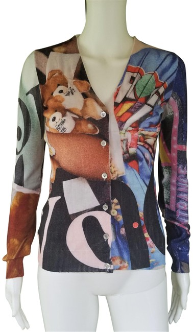 Item - Multi-color Couture Teddy Bear Print Sweater 38 Cardigan Size 4 (S)
