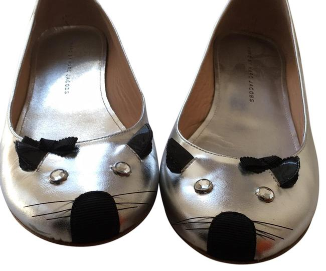 """Item - Silver Leather with Black Details """"mouse"""" Flats Size EU 38.5 (Approx. US 8.5) Regular (M, B)"""
