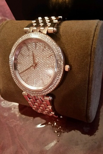 Michael Kors New Michael Kors Darci Collection Rose Gold Tone Pave Crystal Watch Image 5