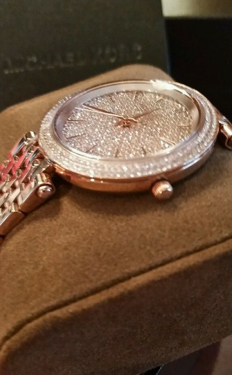 Michael Kors New Michael Kors Darci Collection Rose Gold Tone Pave Crystal Watch Image 6
