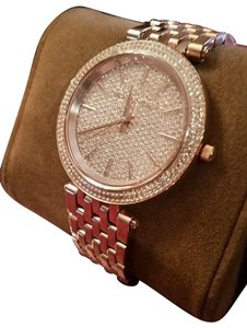 Michael Kors New Michael Kors Darci Collection Rose Gold Tone Pave Crystal Watch