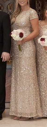 Adrianna Papell Champagne/Gold Scoop Back Sequin Gown Formal Bridesmaid/Mob Dress Size 8 (M) Image 2
