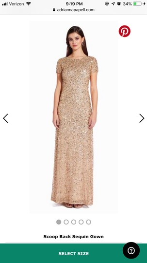 Adrianna Papell Champagne/Gold Scoop Back Sequin Gown Formal Bridesmaid/Mob Dress Size 8 (M) Image 3