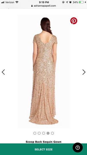 Adrianna Papell Champagne/Gold Scoop Back Sequin Gown Formal Bridesmaid/Mob Dress Size 8 (M) Image 4