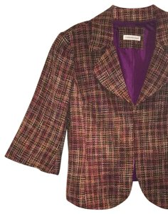 Coldwater Creek Plaid Bell Sleeves Tweed Textured Petite Multicolor Jacket