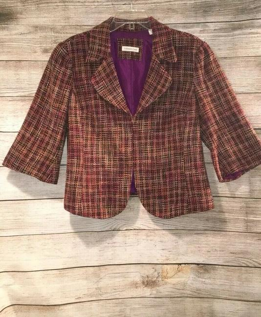 Coldwater Creek Plaid Bell Sleeves Tweed Textured Petite Multicolor Jacket Image 1