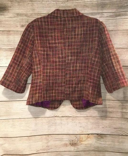 Coldwater Creek Plaid Bell Sleeves Tweed Textured Petite Multicolor Jacket Image 2