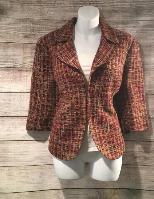 Coldwater Creek Plaid Bell Sleeves Tweed Textured Petite Multicolor Jacket Image 3