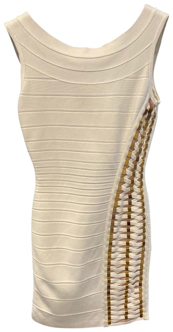 Item - Ivory Bandage Criss Cross and Gold Link Details Short Night Out Dress Size 2 (XS)