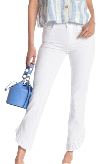 Item - White Hoxton Rise Straight Ruffle Ankle Skinny Jeans Size 25 (2, XS)