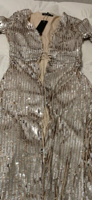Nasty Gal Kimono Sequins Longline Flare Top Silver Nude Image 5