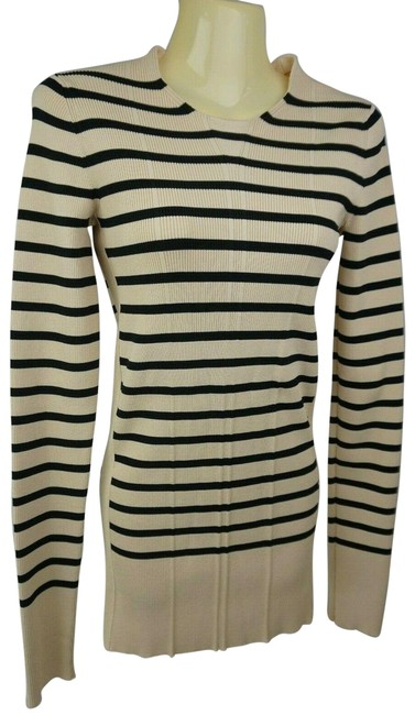 Item - Philo Black Nautical Stripe Side Slit Ribbed Stretch Beige Sweater