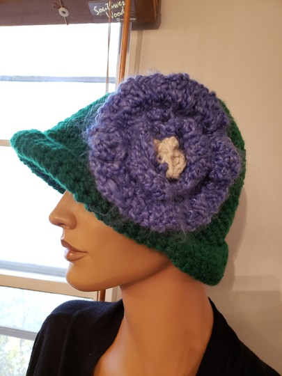 no name Handmade Green crochet extra large hat Image 3