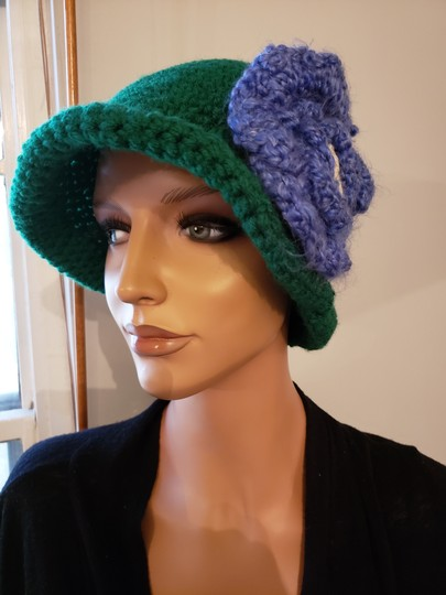 no name Handmade Green crochet extra large hat Image 4