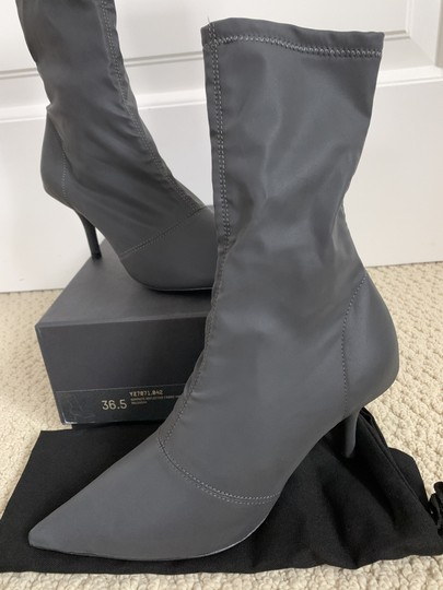 YEEZY Pointed Toe Stretch Reflective Gray Boots Image 4