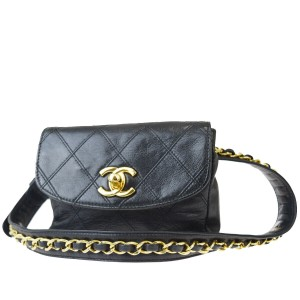 Chanel Quilted Chain Cc Leather Rare Cross Body Bag