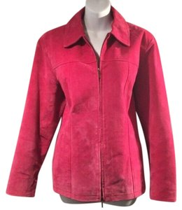 Coldwater Creek Suede Zipper Pink Leather Jacket