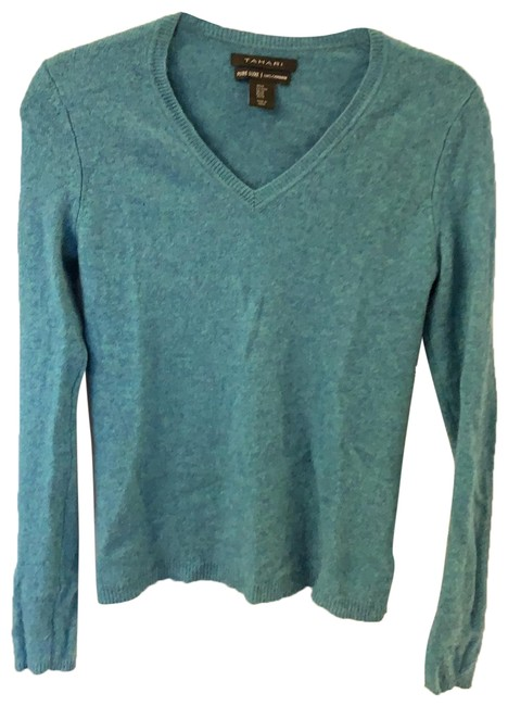 Preload https://img-static.tradesy.com/item/26263031/tahari-pure-luxe-cashmere-teal-sweater-0-1-650-650.jpg