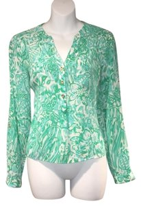 Lilly Pulitzer Silk Tab Sleeve Pop Over Tunic Jungle Top Green