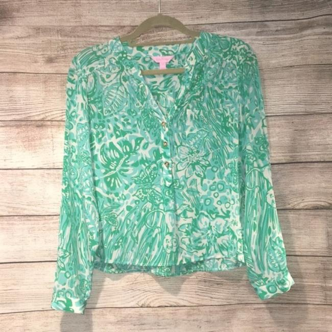 Lilly Pulitzer Silk Tab Sleeve Pop Over Tunic Jungle Top Green Image 1