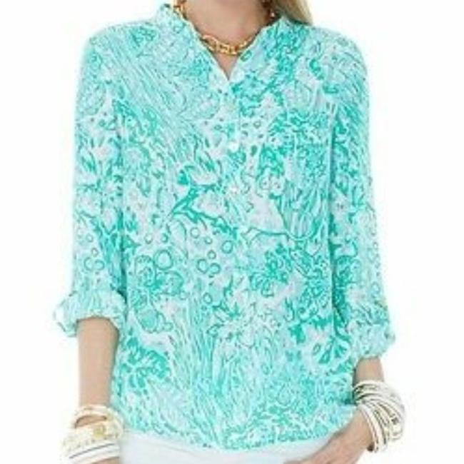 Lilly Pulitzer Silk Tab Sleeve Pop Over Tunic Jungle Top Green Image 2