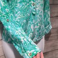 Lilly Pulitzer Silk Tab Sleeve Pop Over Tunic Jungle Top Green Image 4
