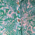 Lilly Pulitzer Silk Tab Sleeve Pop Over Tunic Jungle Top Green Image 5